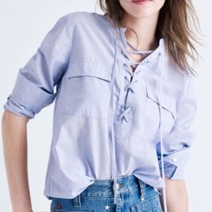 Madewell Terrence lace up front blouse blue xs